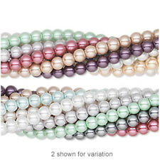Pkg of (10) 30-inch strand - Glass Pearl Beads,assorted colors, 6mm round