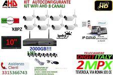 KIT VIDEOSORVEGLIANZA WIRELESS NVR 8 CANALI 8 TELECAMERA WIFI + 2TB + MONITOR 10