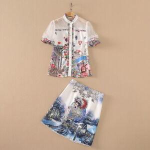 sale wholesale Holiday runway Crew neck Short sleeves Print top Skirt suit