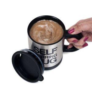 Black Self Stirring Mug Coffee Cup Tea Auto Mixer Drink Insulate Stainless 400ml