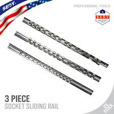 "3pc 1/4"" 3/8"" 1/2"" Socket Holder Rail Rack Mount Steel Drawer Tray Organizer"