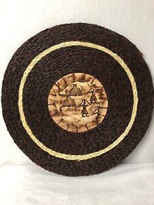 Swaziland Ceramic And Grasswoven Placemat Village Scene Mbabane Swazi Ceramics