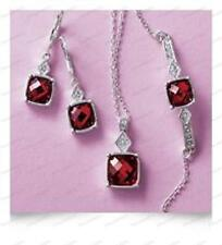 BREATHTAKING 3 PIECE BIRTH STONE SET ruby red square PENDANT,EARRINGS,BRACELET