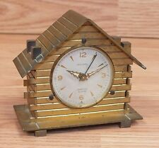 Vintage Jaccard Brass Log House with Chimneys Jeweled Collectible Alarm *France*