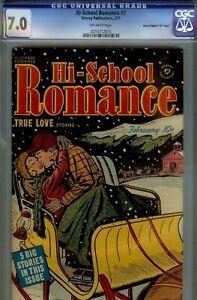 "HI-SCHOOL ROMANCE #7- CGC 7.0- ""D COPY""- RARE HIGRADE 1951 HARVEY- BEAUTIFUL"