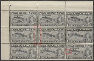 NL #233i & 233iii Mint NH VF Corner Block of 9 with Both Constant Varieties