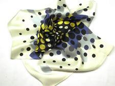 "New 14"" 100% Silk Pocket Square White Blue Gold Moonburst"