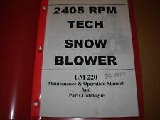 RPM TECH LM220 Snowblower Maintenance Operation & Parts Manual