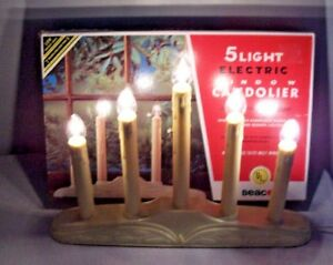 VINTAGE BEACON 5 LIGHT WINDOW CANDOLIER ELECTRIC CANDELABRA  CHRISTMAS CANDLES