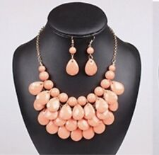 Gold Toned Peach Coral Acrylic Bead Multi Layer Necklace And Earring Set
