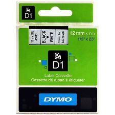 Genuine Dymo D1 45013 Black on White S0720530 12mm x 7M Label Cassette VAT inc