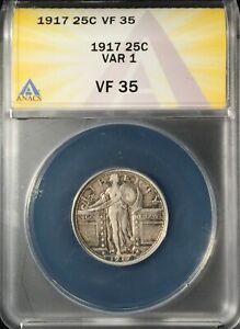 1917 Type 1 Standing Liberty Quarter == ANACS  VF-35 == Nice == FREE SHIPPING!