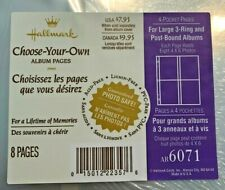 NEW Hallmark 4 Pocket Large Photo Album Refill Package 8 Pages AR6071 POSTS NIP