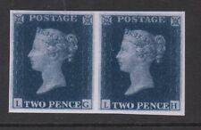 Vic - 1840. 2d Blue. reimpresión de Imperforado Par. Menta desmontado. FREEPOST!
