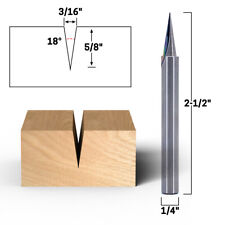 18 Zero Point V Groove Engraving Carbide Router Bit 14 Shank Yonico 14104q