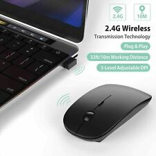 2.4GHz BLACK WIRELESS USB MOUSE SCROLL SLIM CORDLESS OPTICAL FOR MAC PC LAPTOP