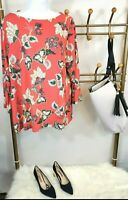 J Jill Women's Wearever Collection Blouse Top Size L Floral Coral 3/4 Sleeve