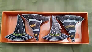 NIB Halloween Floating Candles 4 Pc Witches Hats Party Decorations Centerpiece