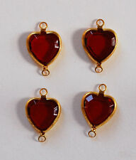 VINTAGE 4 RUBY RED GLASS brass HEART PENDANT CONNECTOR BEADS BEAD HEARTS 10mm