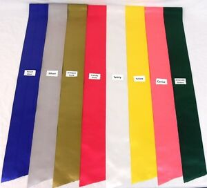 PLAIN SASH RIBBON 4in 100mm WIDE 1.8 LENGTH CHOICE OF 16 BEAUTIFUL COLOURS NEW