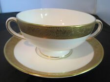 WEDGWOOD ASCOT WHITE AND GOLD FINE BONE CHINA CREAMED SOUP CUP WITH SAUCER