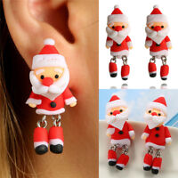 Christmas Santa Claus Earrings Handmade Polymer Clay Ear Stud Earrings Jewelry F
