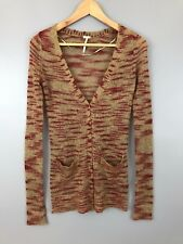 Free People FP Beach Tiger Fluff Cardigan sweater mohair striped X small red tan