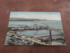 Early valentine postcard - The harbour Quebec Canada - steam ships