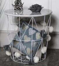 Round Modern Retro White Wire Metal & Marble Effect Wood End Side Storage Table