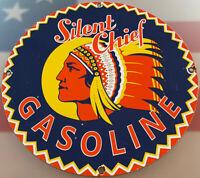 VINTAGE SILENT CHIEF GASOLINE PORCELAIN SIGN GAS STATION MOTOR OIL PUMP PLATE