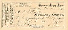"LANCASTER, PENNSYLVANIA ""EVENING EXPRESS"" NEWSPAPER 1872 SUBSCRIPTION RECEIPT"