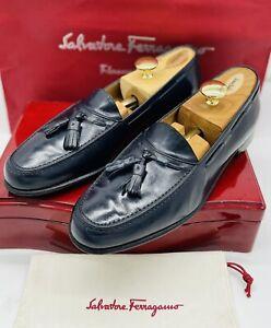 Ferragamo Mens Loafers Size 9 Dark Blue Tassel Slip On Calfskin Luxury Shoes