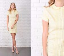 Vintage 60s Yellow Dress Peter Pan Collar Shift Mini Lace Short Sleeve XS
