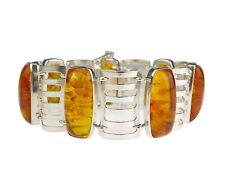 VEB Fischland Damen 835 Silber Poly Poli Bernstein Armband 35,5 gr 20 cm