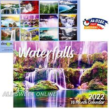 2022 Wall Calendar 16 Months Waterfalls Personal Planner Year Gifts