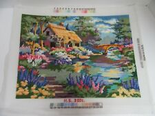 Finished Needlepoint Gardeners Cottage English Bridge Dimensions 2487 Completed