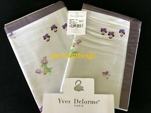 Yves Delorme 2 Standard Shams Cases Miombre Pansies Figue Purple Cotton Sateen