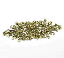 60 Bronze Tone Filigree Flower Wraps Connector Embellishments Finding 8.5x3.4cm
