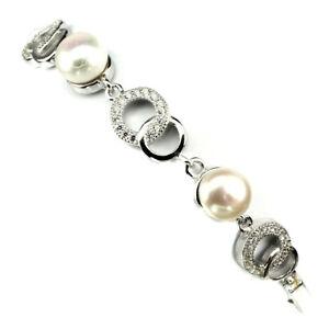 Ravishing Round 7 Mm White Pearl White Cz 925 Sterling Silver Bracelet 7 Inches