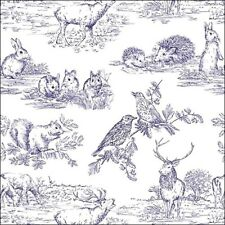 4 Lunch Paper Napkins for Decoupage Party Table Craft  Woodland Animals Blue