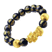 Unisex Feng Shui Black Obsidian Pixiu Wealth Bracelet Attract Wealth & Good Luck
