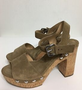 Nwt Michael Kors Hayden Platform Brown Chunky Cork Heels Women Sandals Sz 10