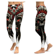 UK SKULL CHIEF FEATHER CROWN LEGGINGS Gift Idea Festival Yoga Gothic Tribal