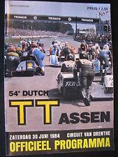 Program Dutch TT Assen 30 juni 1984 (TTC)