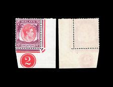 "Singapore 1948 KGVI Definitive 40c corner plate ""2"" single, MNH."
