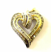 925 sterling silver gold plated 1.04ct diamond heart pendant slide 5.2g estate