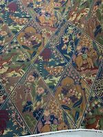 """Tapestry  Large Diamonds Containing Animals  Upholstery Fabric 54"""" By The Yard"""