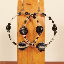 """2"""" Black Multi Color Mixed Bead Handmade Bohemian Seed Bead Round Hoop Earrings"""
