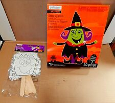 "Halloween Foam Activity Kit & Paper Stick Puppets 4+10 ""x 9"" Stand Up Witch 35A"