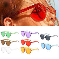 Women Candy Colors Sunglasses Ladies Tinted Thick Lens Men Rimless Glasses New